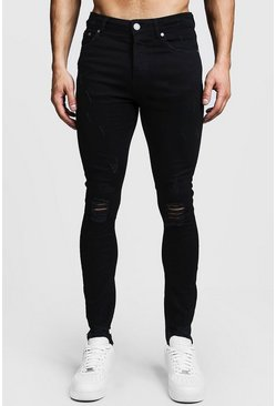 Herr Black Super Skinny Ripped Knee Jeans With Raw Hem