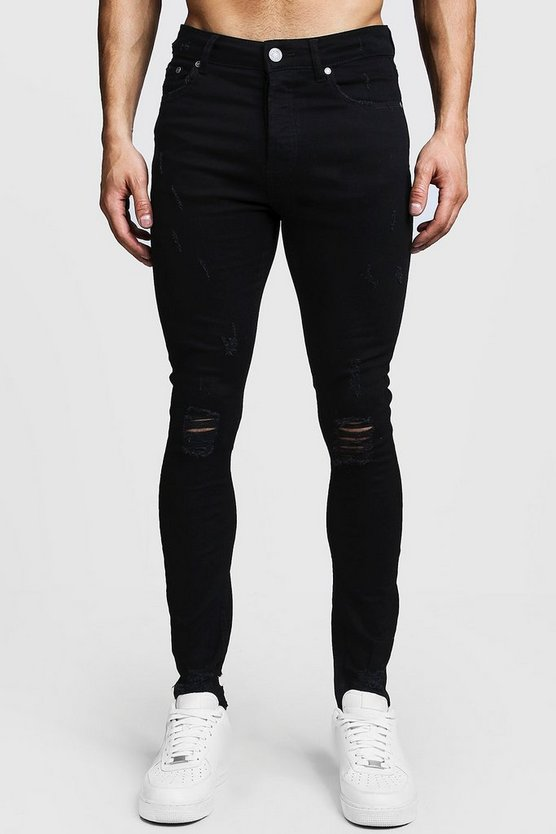 Mens Black Super Skinny Ripped Knee Jeans With Raw Hem