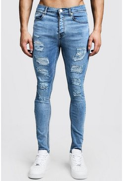 Mens Washed blue Super Skinny Jeans With All Over Rips