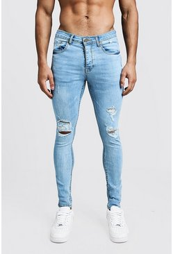 Mens Vintage wash Spray On Skinny Jeans With Distressed Knees