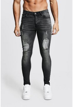 Charcoal Spray On Skinny Jeans With Distressed Knees