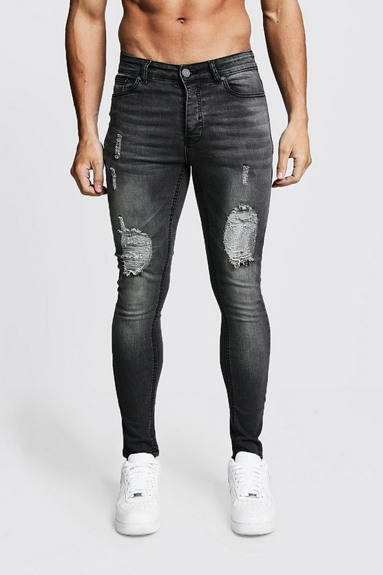Mens Charcoal Spray On Skinny Jeans With Distressed Knees