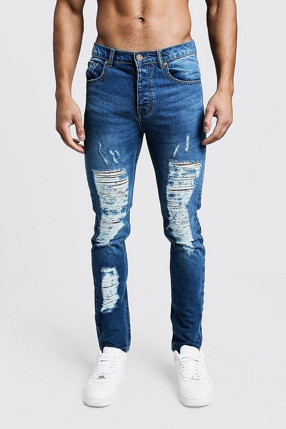 Blue Skinny Fit Rigid Heavily Distressed Jeans