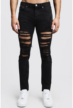 Steife Skinny Fit Jeans in extremer Destroyed-Optik, Verwaschenes schwarz