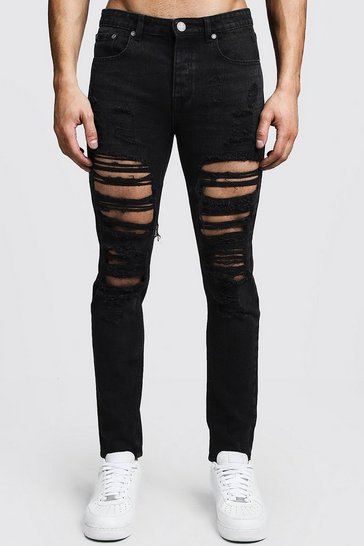 Washed black Skinny Fit Rigid Heavily Distressed Jeans