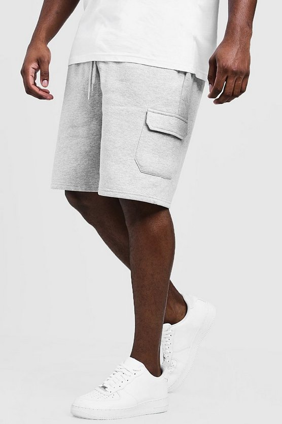 Mens Grey marl Big And Tall Skinny Fit Jersey Cargo Shorts