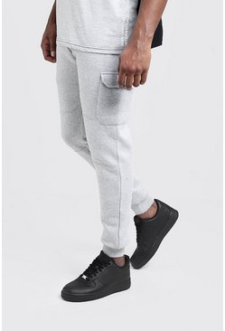 Jogging cargo coupe Skinny Big And Tall, Gris chiné, Homme