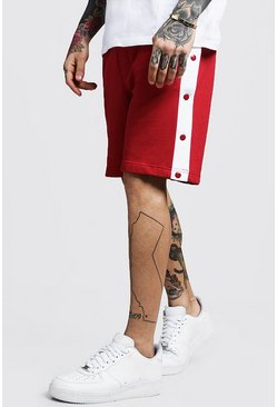 Mens Red Jersey Shorts With Side Poppers
