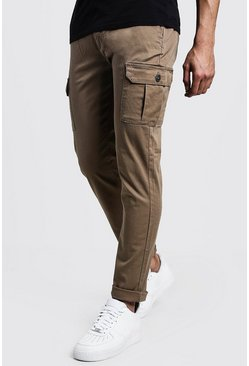 Mens Camel Slim Fit Stretch Cargo Trouser