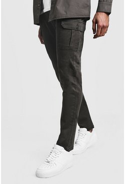 Mens Khaki Slim Fit Stretch Cargo Trouser