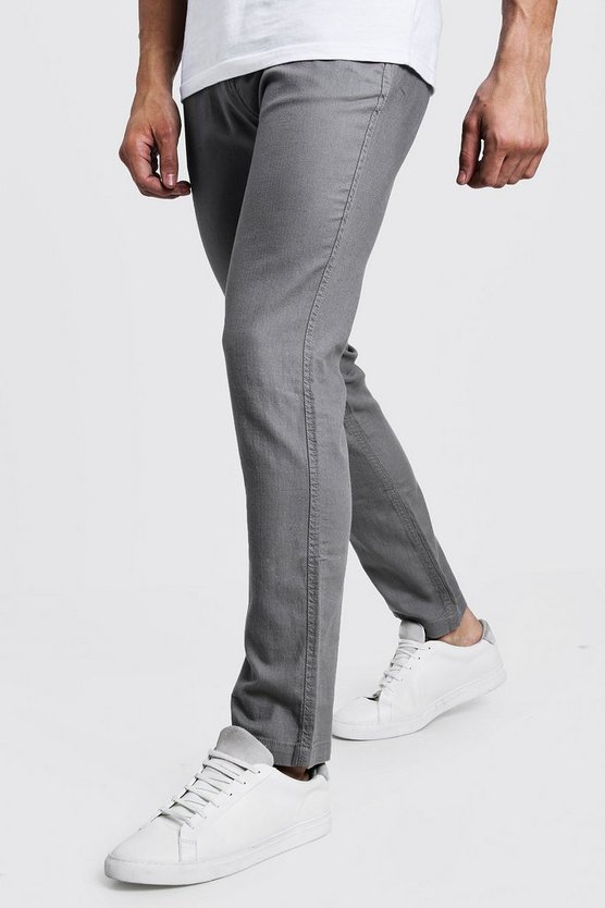Mens Grey Cotton Linen Blend Slim Fit Trouser