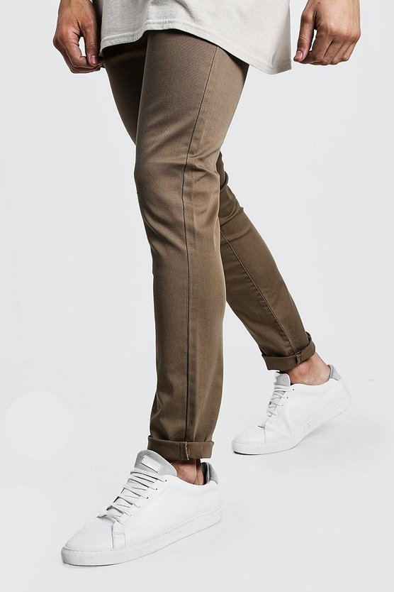 Mens Stone Cotton Linen Blend Slim Fit Trouser