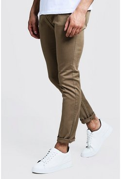 Mens Camel Slim Fit Stretch Chino Trouser