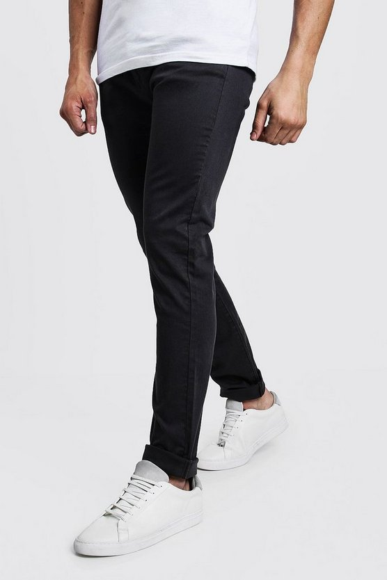 Mens Charcoal Slim Fit Stretch Chino Trouser