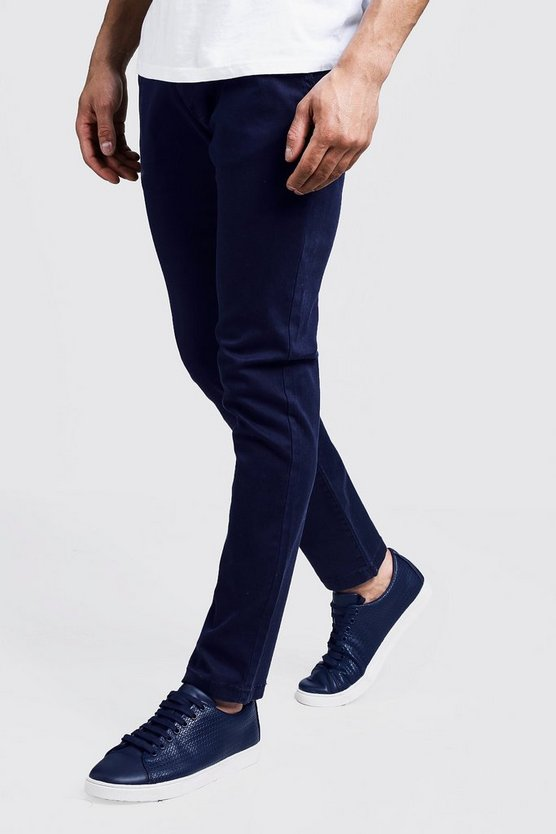 Pantalon chino stretch coupe Slim, Marine, Homme