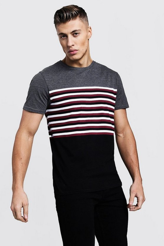 Mens Charcoal Colour Block Stripe T-Shirt