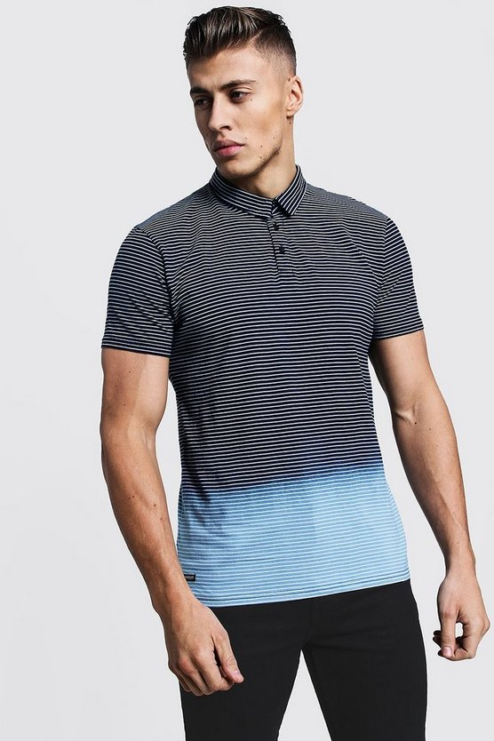 Mens Blue Ombre Stripe Jersey Polo