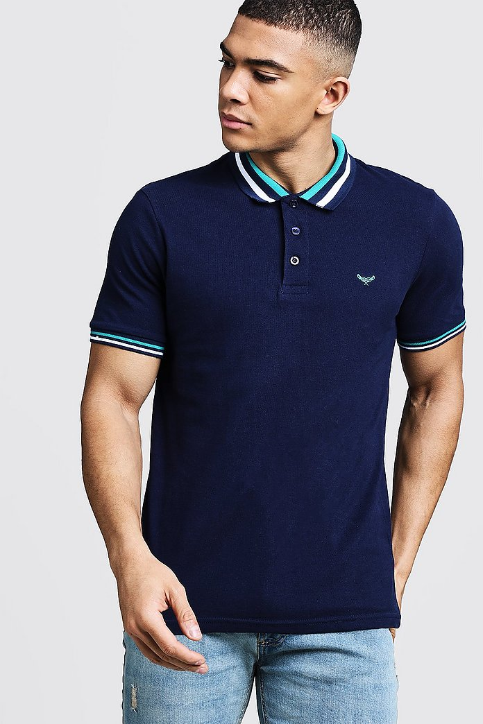 Muscle Fit Polo With Retro Tipping | boohoo