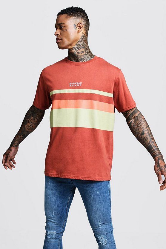 Mens Brick Loose Fit Panelled Embroidered Slogan Tee