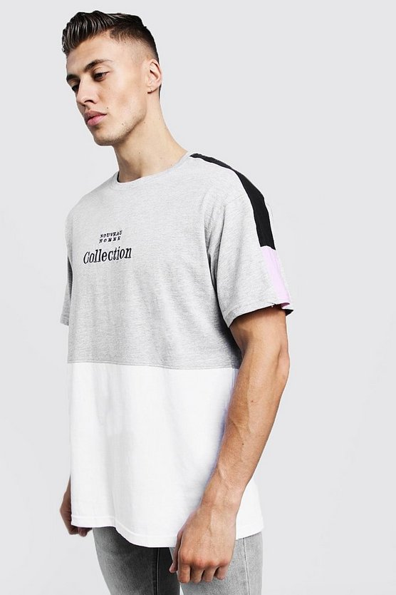 Grey Loose Fit Panelled Tee With Embroidered Slogan