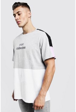 Mens Grey Loose Fit Panelled Tee With Embroidered Slogan