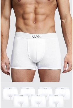 Mens White 7 Pack MAN Trunks