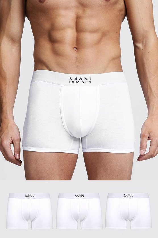 Mens White 3 Pack MAN Trunks