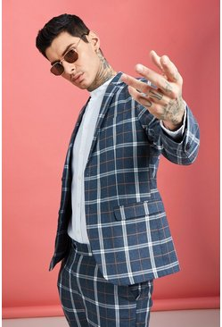 Blue Bold Check Skinny Fit Suit Jacket