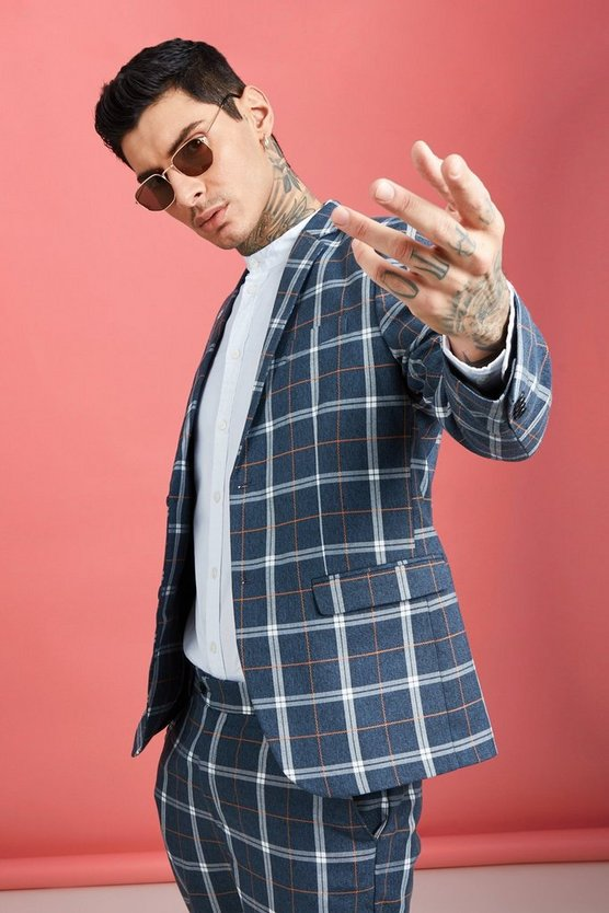 Mens Blue Bold Check Skinny Fit Suit Jacket