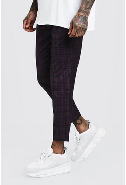 Mens Plum Check Smart Jogger Trousers