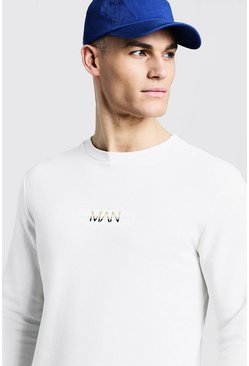 Mens Ecru Fleece Sweater With Contrast Marl Embroidered Box