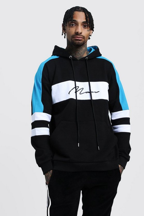 Mens Black Drop Shoulder Colour Block MAN Hoodie