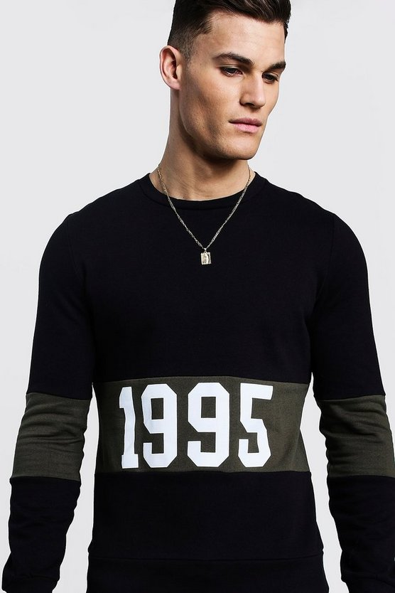 "Mens Black """"1995"""" Slogan Colour Block Sweatshirt"