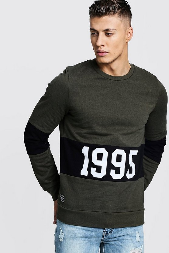 "Mens Khaki """"1995"""" Slogan Colour Block Sweatshirt"