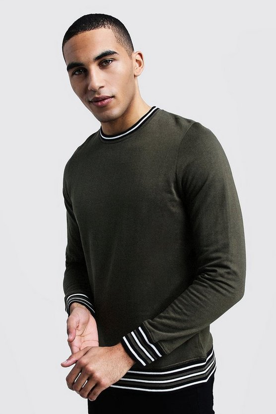 Mens Khaki Sports Rib Detail Sweatshirt