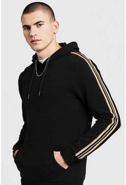 Mens Black Jacquard Tape Detail Over The Head Hoodie