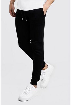 Mens Black Skinny Fit Basic Fleece Jogger