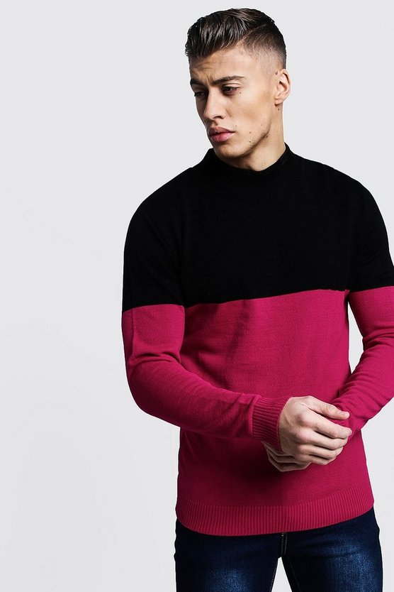 Colour Block Turtle Neck Sweater