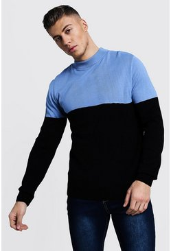 Mens Dusty blue Colour Block Turtle Neck Jumper