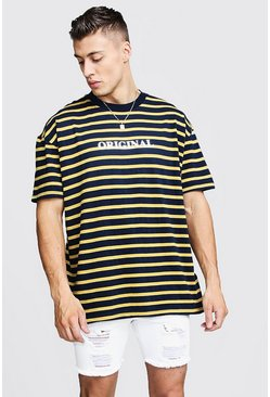 Mens Navy Oversized Stripe T-Shirt With Reflective Slogan