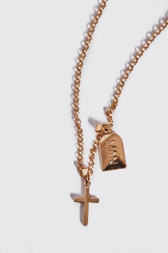 Mens Gold MAN Dash And Cross Necklace