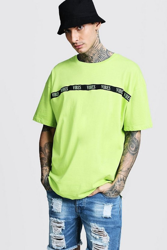 Neon Slogan Oversized Tape T-Shirt