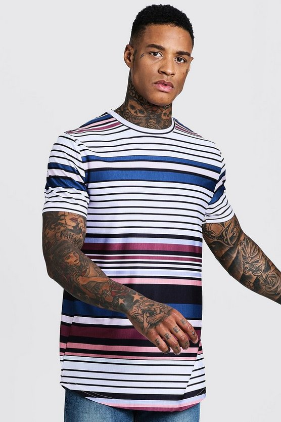 Retro Horizontal Stripe Longline Curved Hem Tee