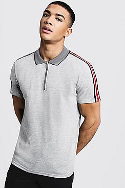 Textured Polo With Shoulder Taping