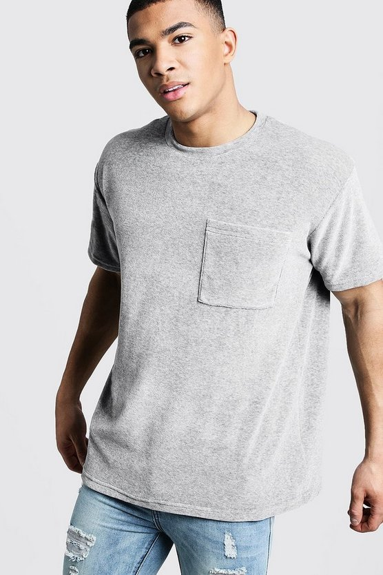 Loose Fit Velour Tee With Pocket Detail