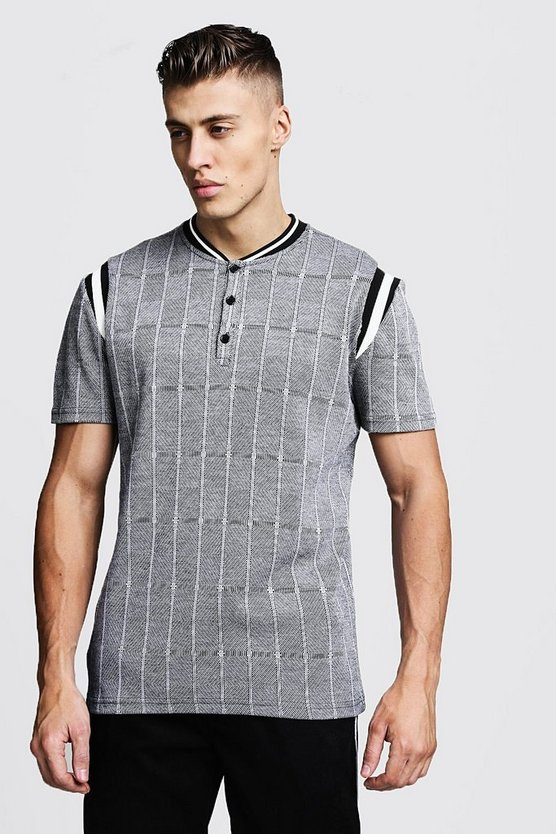 Mens Grey Jacquard Smart Polo With Bomber Neck