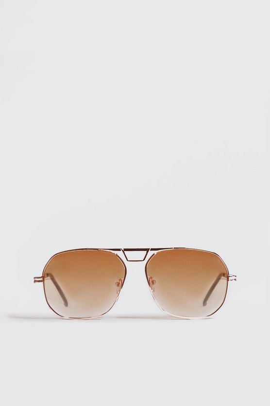 Mens Orange Tint Gold Frame Aviator