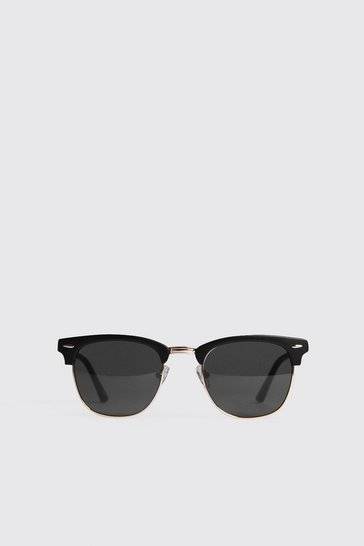 Black Frame Detail Retro Sunglasses