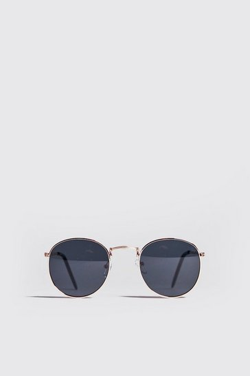 Black Metal Frame Round Sunglasses