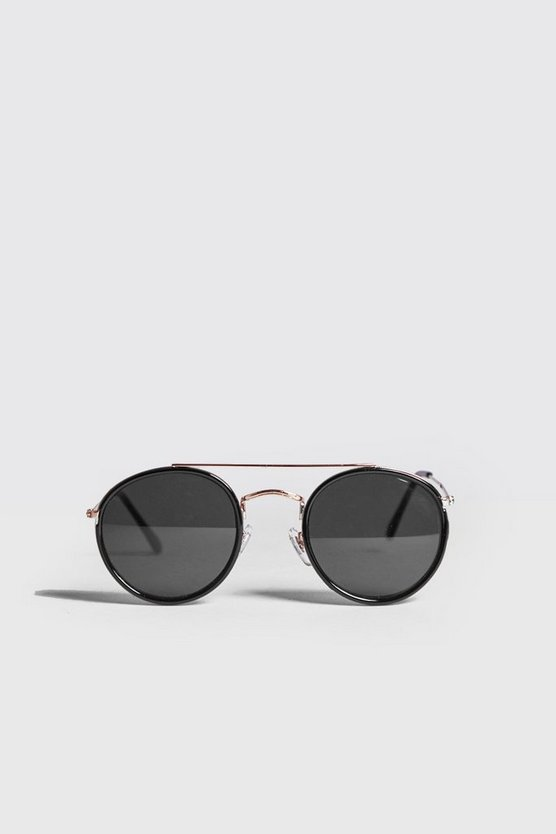 Mens Black Round Top Bar Sunglasses
